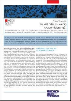 Cover der Publikation Zu viel oder zu wenig Akademisierung?!, die von Dr. Angela Borgwardt geschrieben wurde und 2014 in der Reihe Hochschulpolitik erschienen ist.