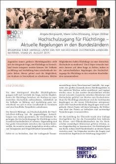 Cover der Publikation Hochschulzugang für Fluechtlinge, die von Dr. Angela Borgwardt geschrieben wurde und 2015 in der Reihe Hochschulpolitik erschienen ist.