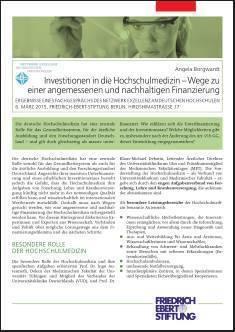 Cover der Publikation Investitionen in die Hochschulmedizin, die von Dr. Angela Borgwardt geschrieben wurde und 2015 erschienen ist.