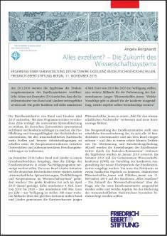 Cover der Publikation Alles exzellent? - Die Zukunft des Wissenschaftssystems, die von Dr. Angela Borgwardt geschrieben wurde und 2016 erschienen ist.