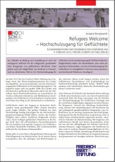 Cover der Publikation Refugees Welcome, die von Dr. Angela Borgwardt geschrieben wurde und 2016 in der Reihe Hochschulpolitik erschienen ist.