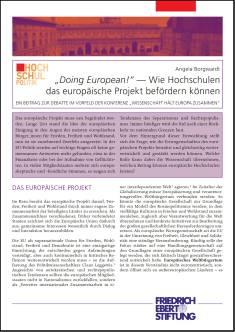 Cover der Publikation Doing European, die von Dr. Angela Borgwardt geschrieben wurde und 2017 in der Reihe Hochschulpolitik erschienen ist.