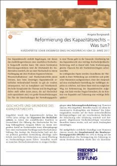 Cover der Publikation Reformierung des Kapazitaetsrechts, die von Dr. Angela Borgwardt geschrieben wurde und 2017 erschienen ist.