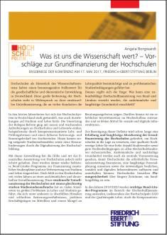 Cover der Publikation Was ist uns die Wissenschaft wert?, die von Dr. Angela Borgwardt geschrieben wurde und 2018 in der Reihe Hochschulpolitik erschienen ist.