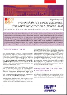 Cover der Publikation Wissenschaft haelt Europa zusammen, die von Dr. Angela Borgwardt geschrieben wurde und 2017 in der Reihe Hochschulpolitik erschienen ist.