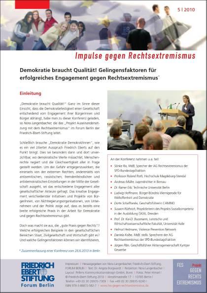 Cover der Publikation Demokratie braucht Qualität - Gelingensfaktoren für erfolgreiches Engagement gegen Rechtsextremismus